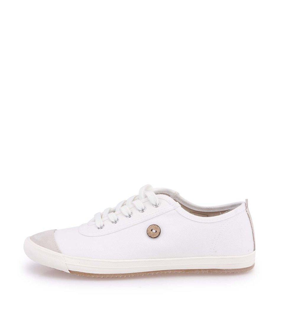 Bílé dámské plátěné tenisky s šedou špičkou Faguo Oak