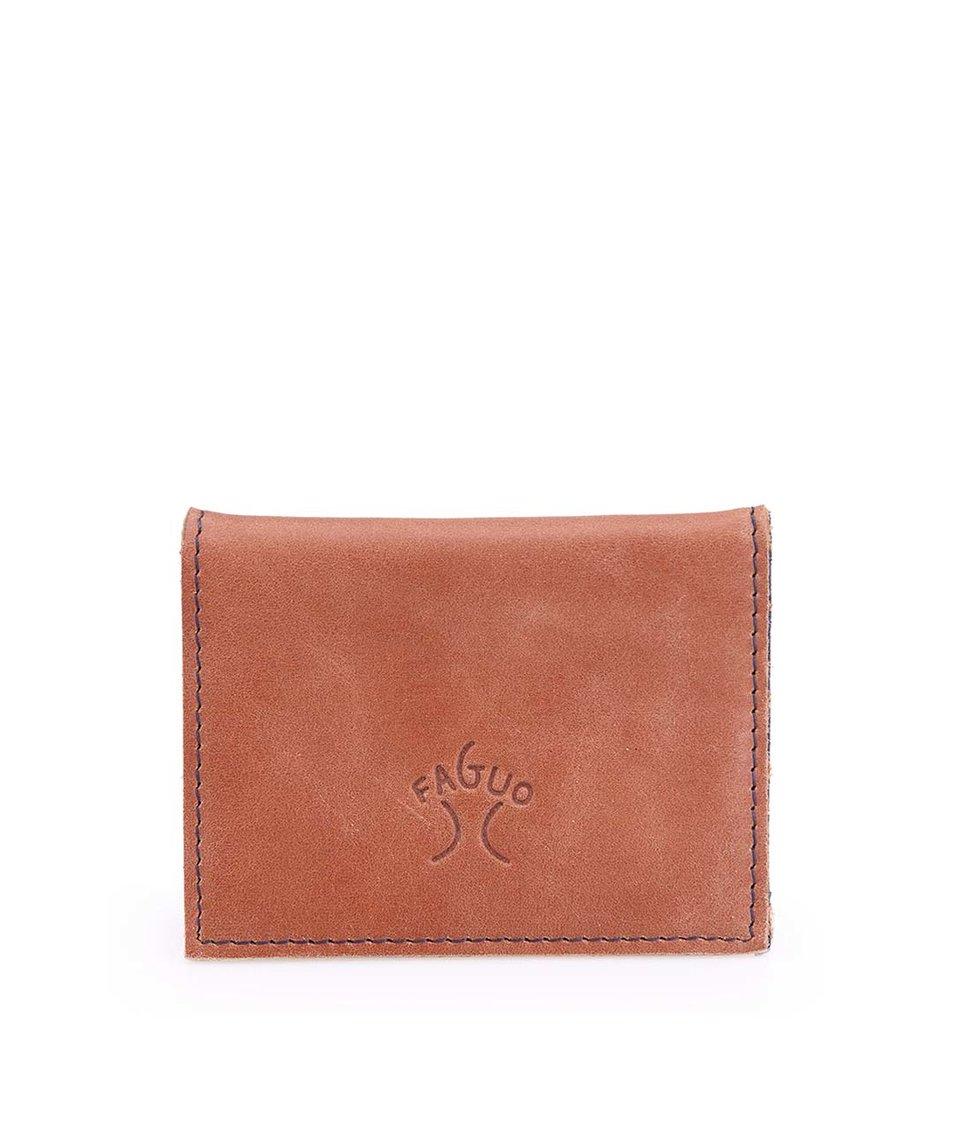 Tmavě hnědá kožená pánská menší peněženka Faguo Wallet 365
