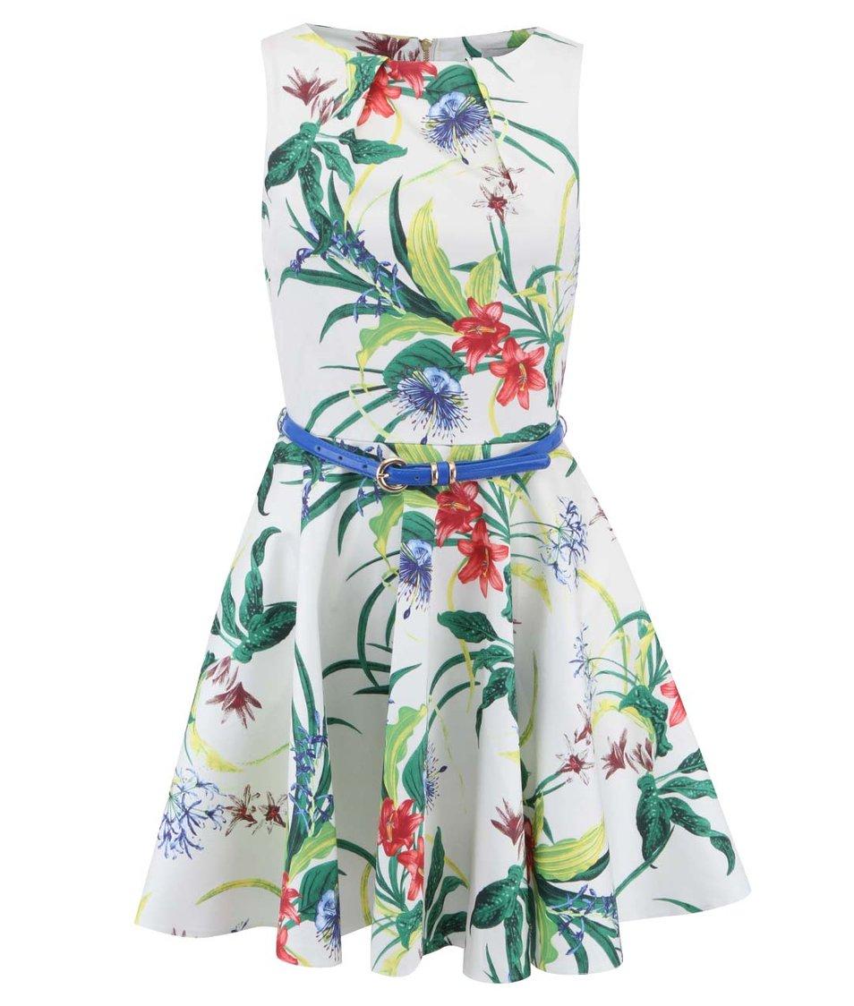 Smetanově bílé šaty s tropickým motivem a modrým páskem Closet