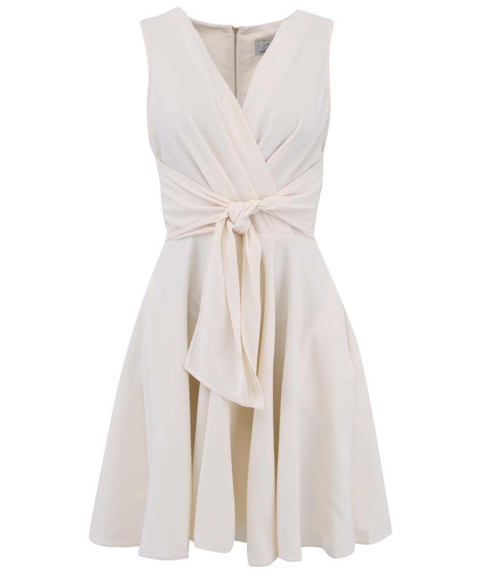 Krémové šaty se zavazováním v pase Closet