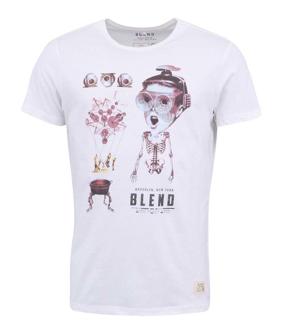 Bílé triko s potiskem Blend Robotic