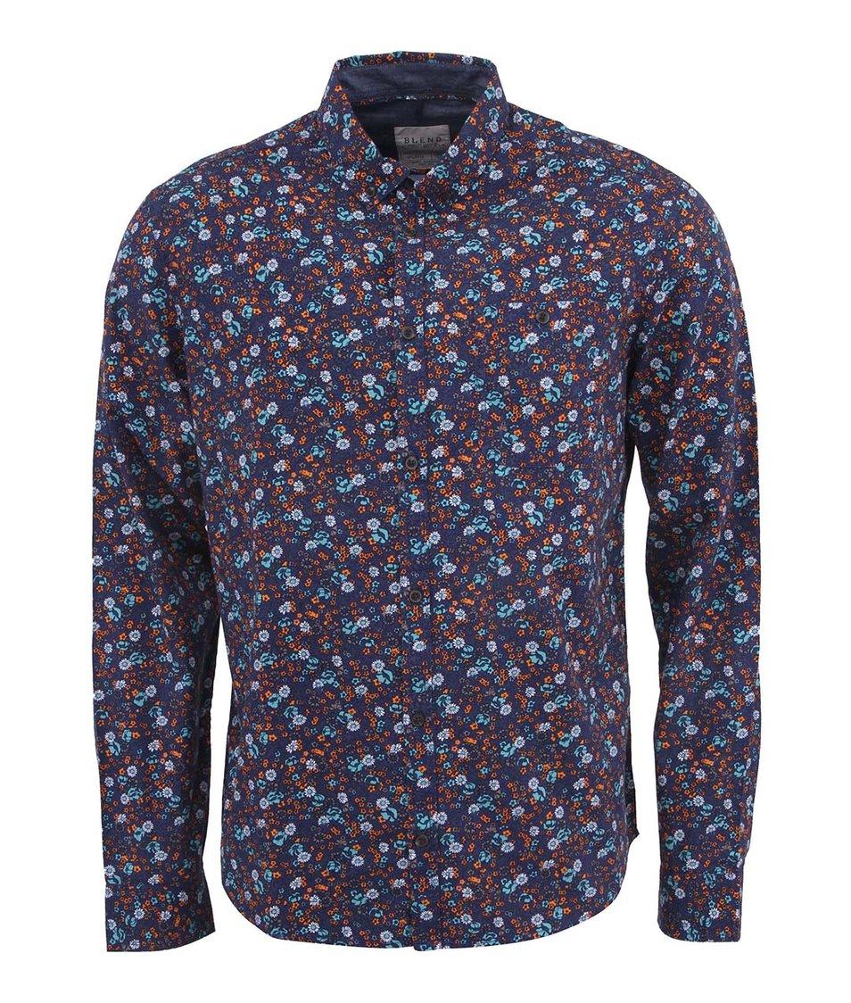Tmavě modrá květovaná košile Blend