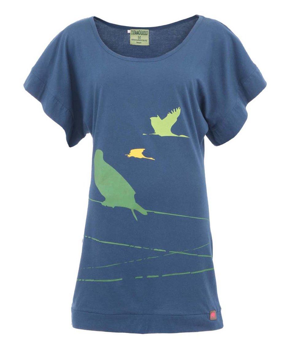 Modré minišaty s motivem ptáčků Tranquillo Robella
