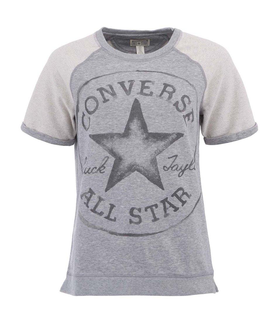 Šedá dámská mikina s krátkým rukávem Converse Chuck Taylor All Star