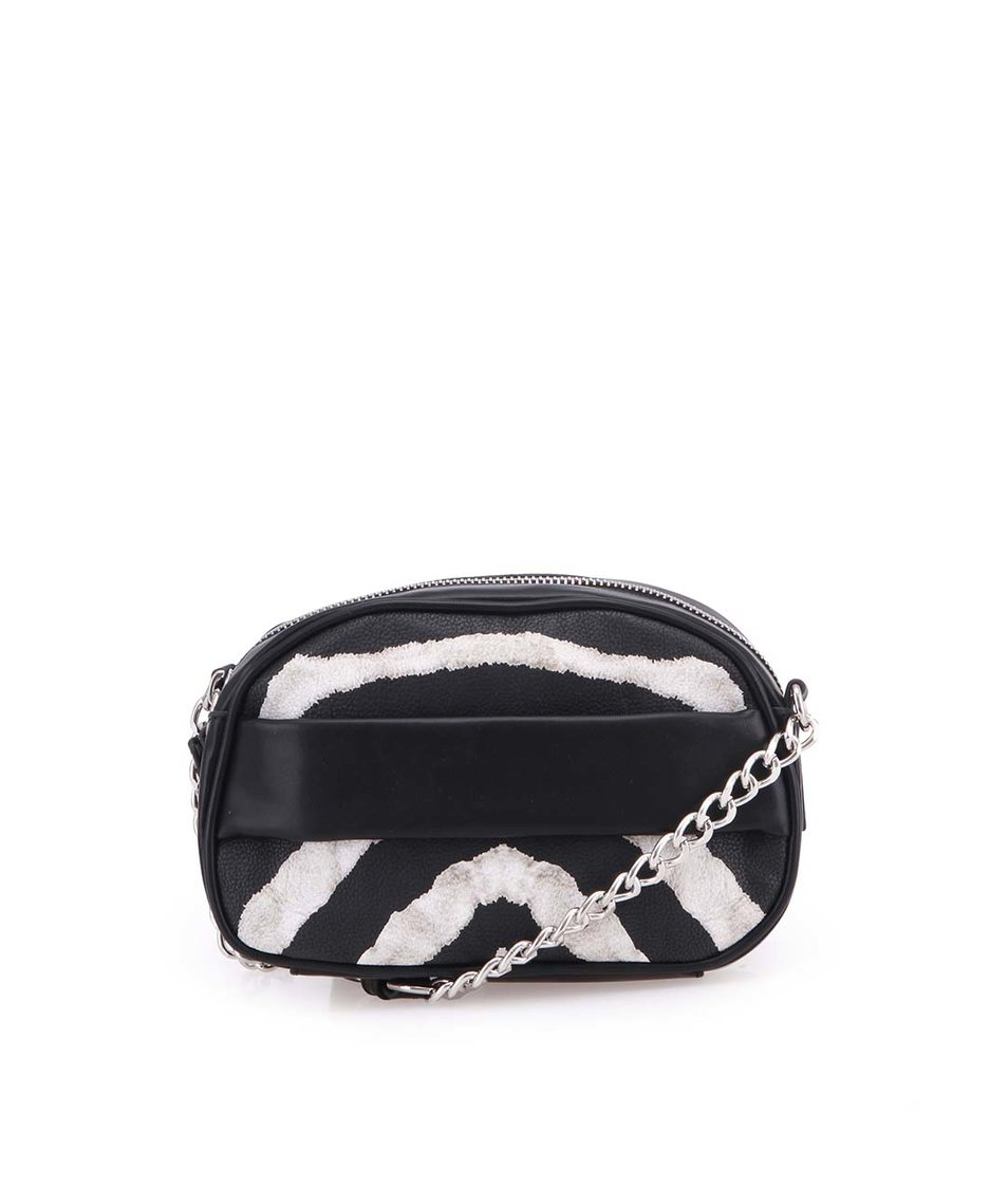 Černo-bílá zebrovaná kabelka přes rameno Clenapal