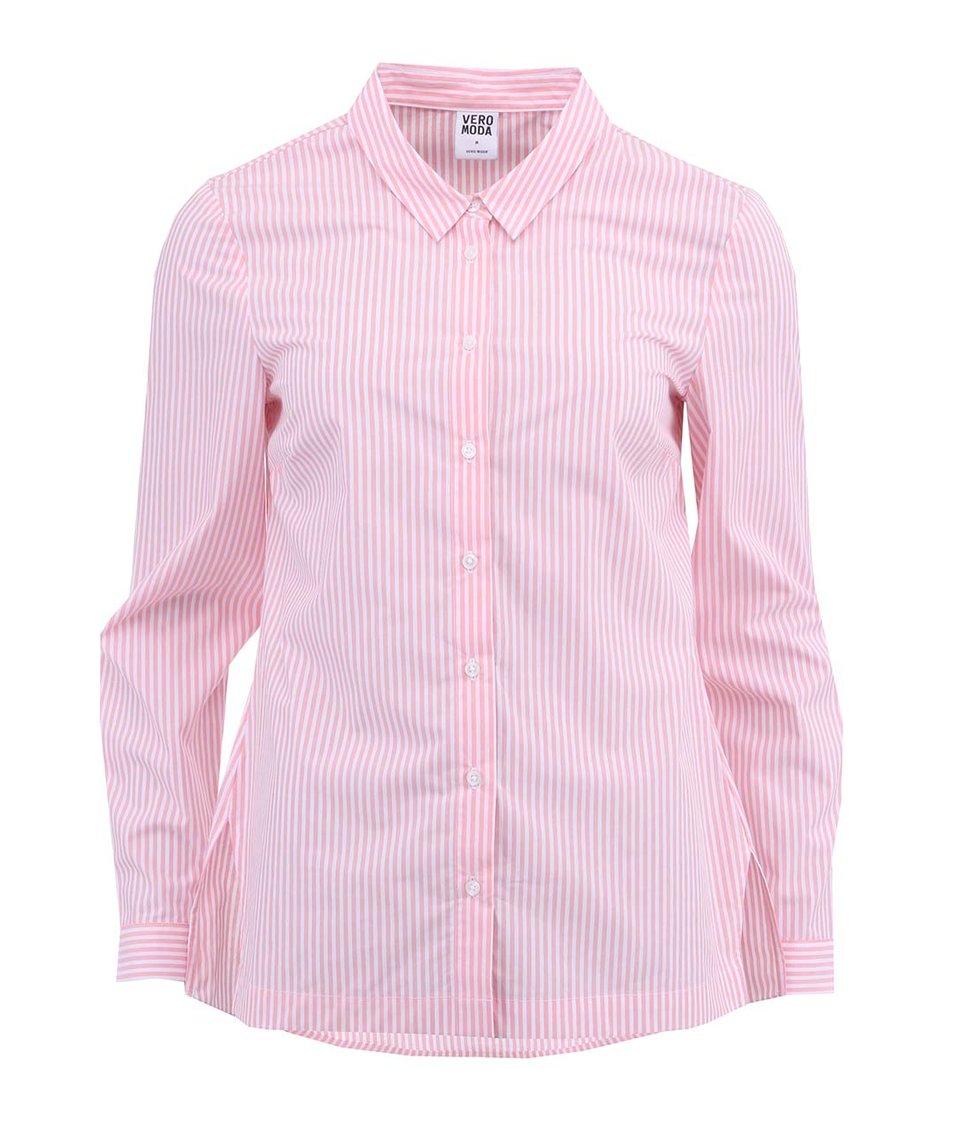 Růžová pruhovaná košile s dlouhým rukávem Vero Moda Tanga