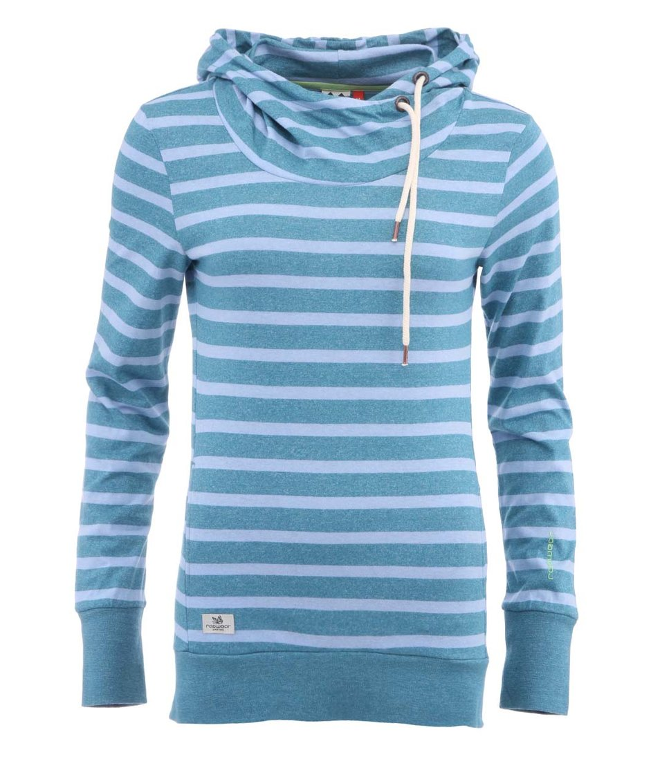 Modro-zelená pruhovaná dámská mikina Ragwear Beat Stripes