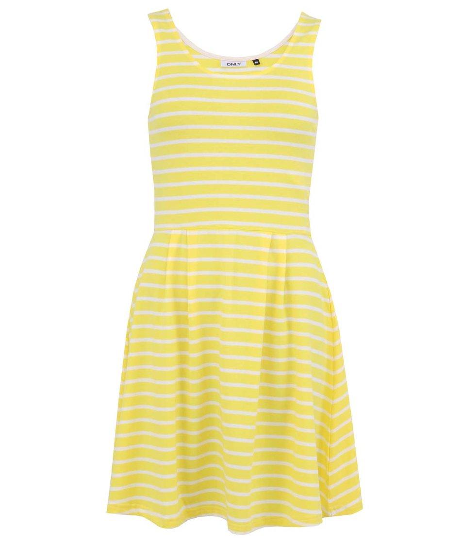 Žluté pruhované šaty ONLY Emmelie