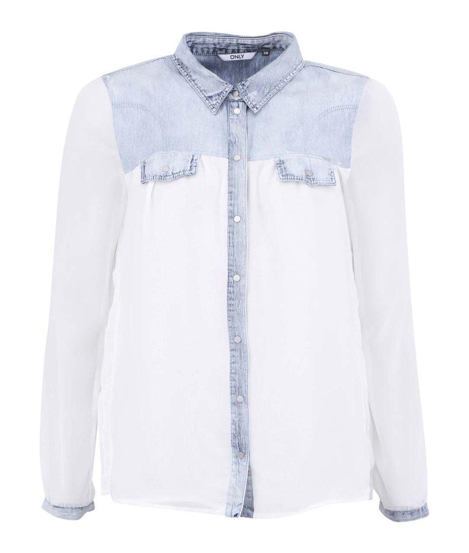 Bílá košile s džínovými detaily ONLY Malika