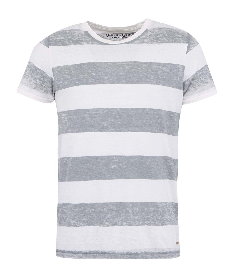 Bílo-šedé tričko se širokými pruhy Jack & Jones Henry
