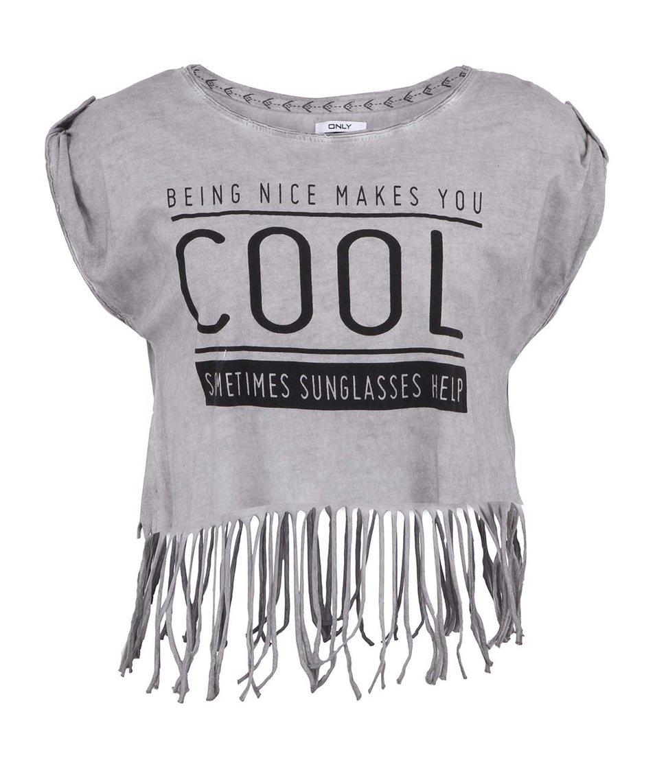 Tmavě šedé kratší tričko s třásněmi ONLY Fringe