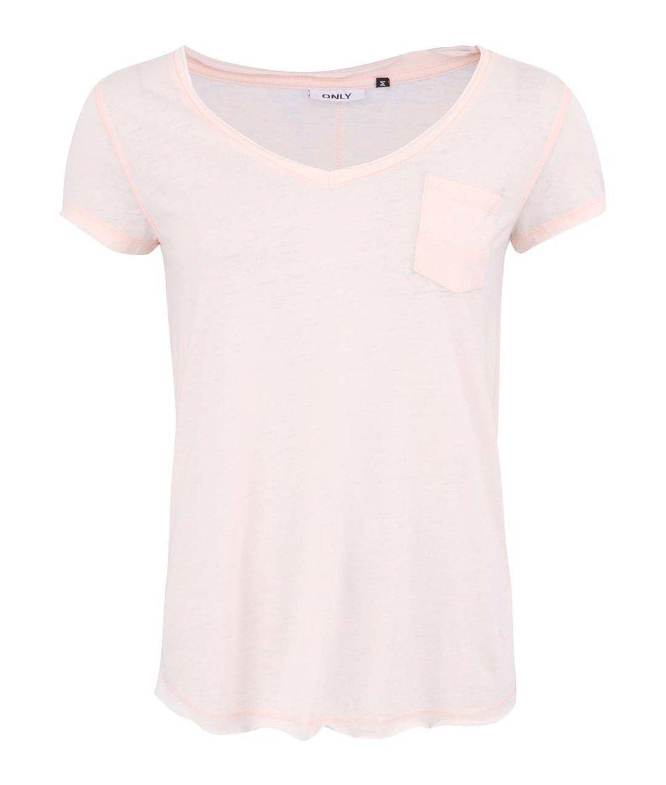 Světle růžové tričko s kapsou ONLY Indie
