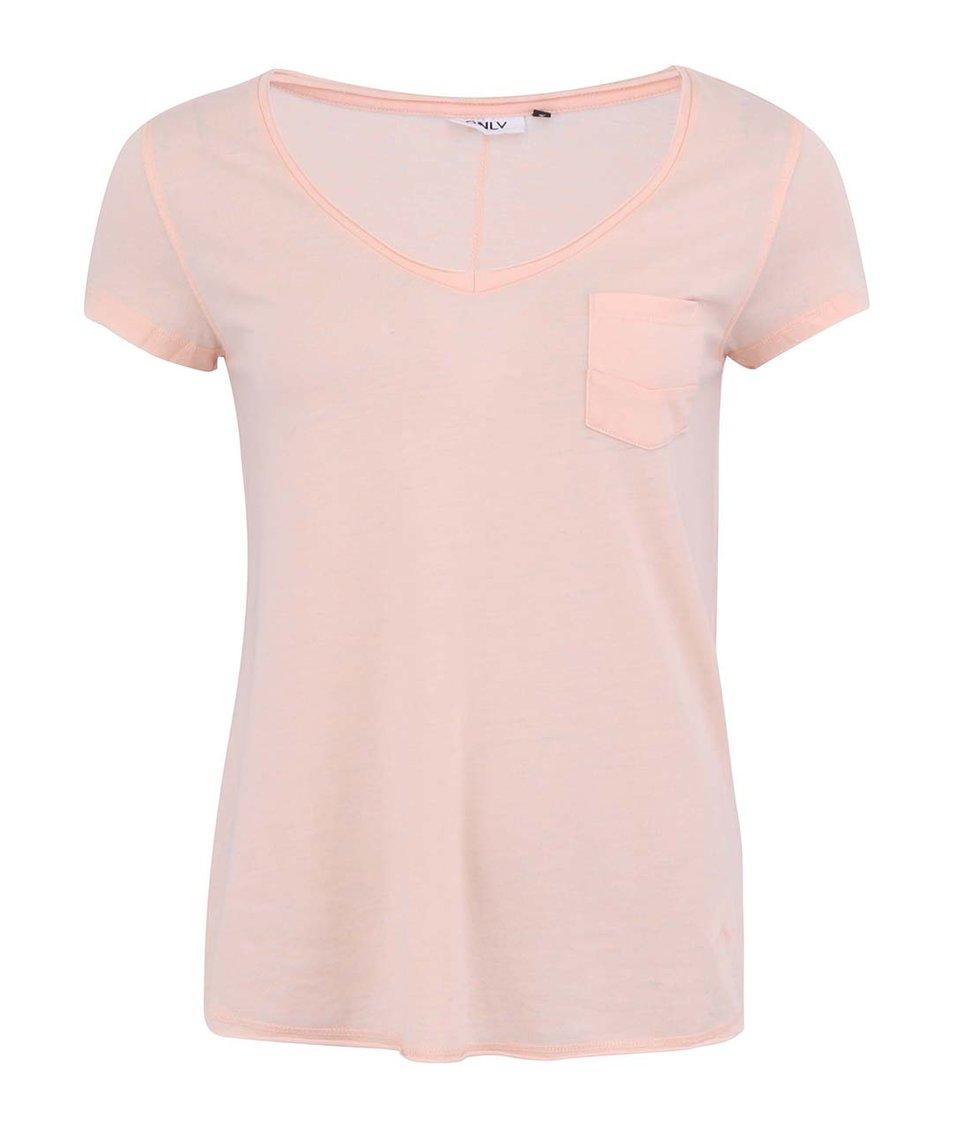 Meruňkově růžové tričko s kapsou ONLY Indie