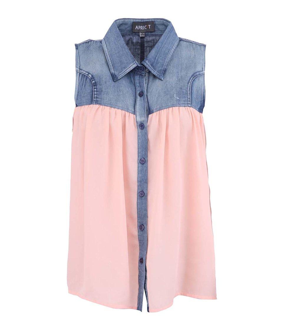 Meruňková košile bez rukávů s džínovými detaily Apricot