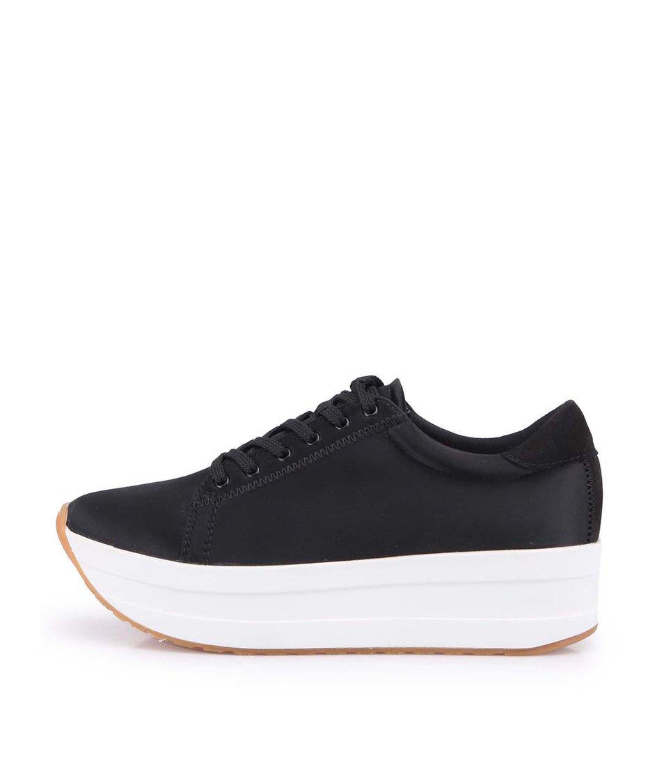 Černé kožené boty na platformě Vagabond Casey