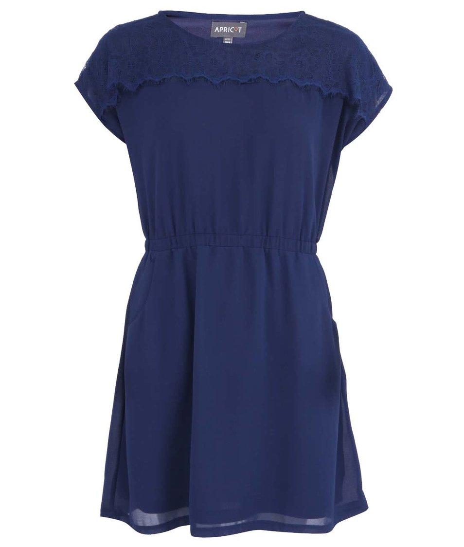 Tmavě modré šaty s krajkovaným detailem Apricot