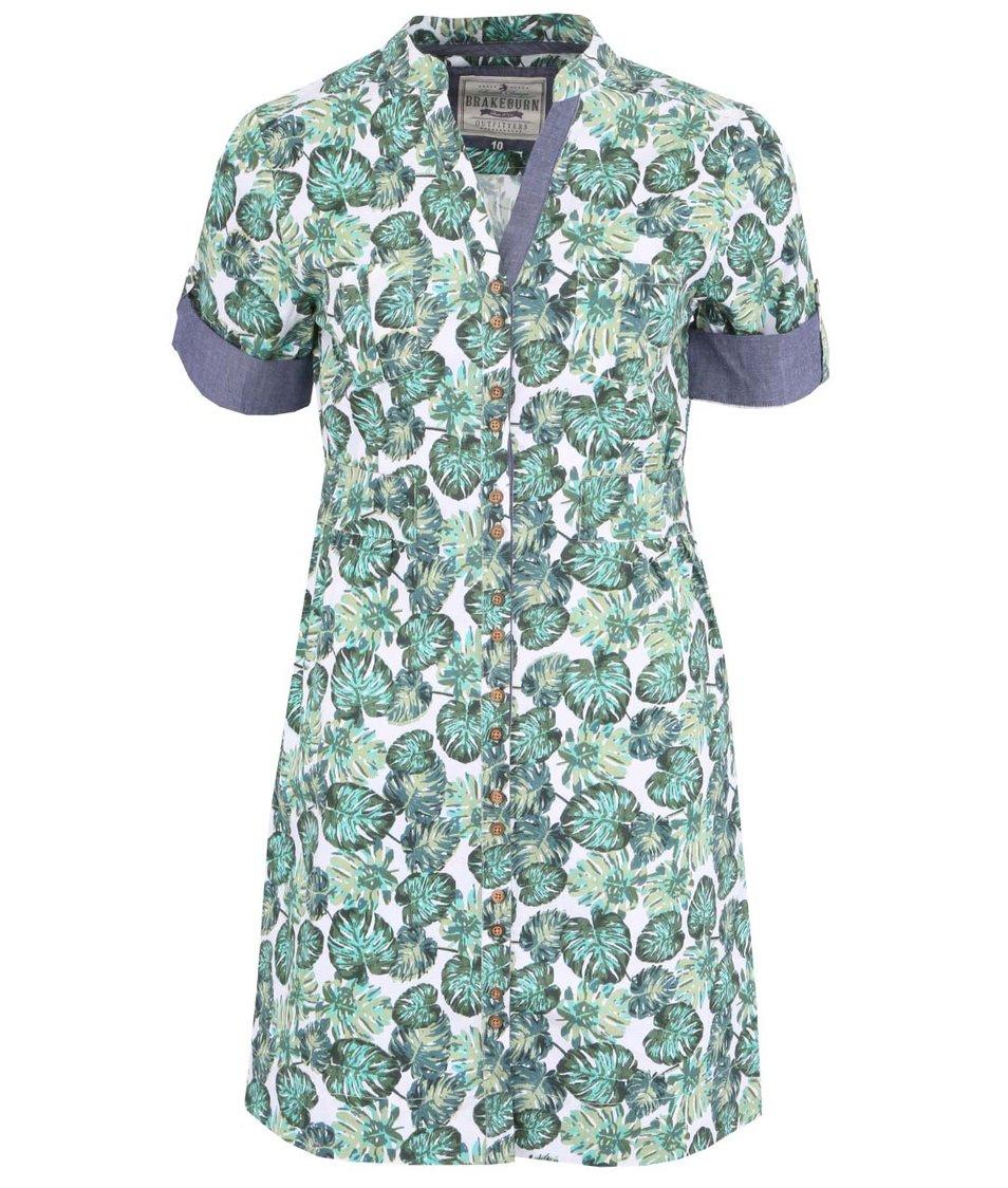 Zelené dámské šaty s potiskem listů Brakeburn Monstera