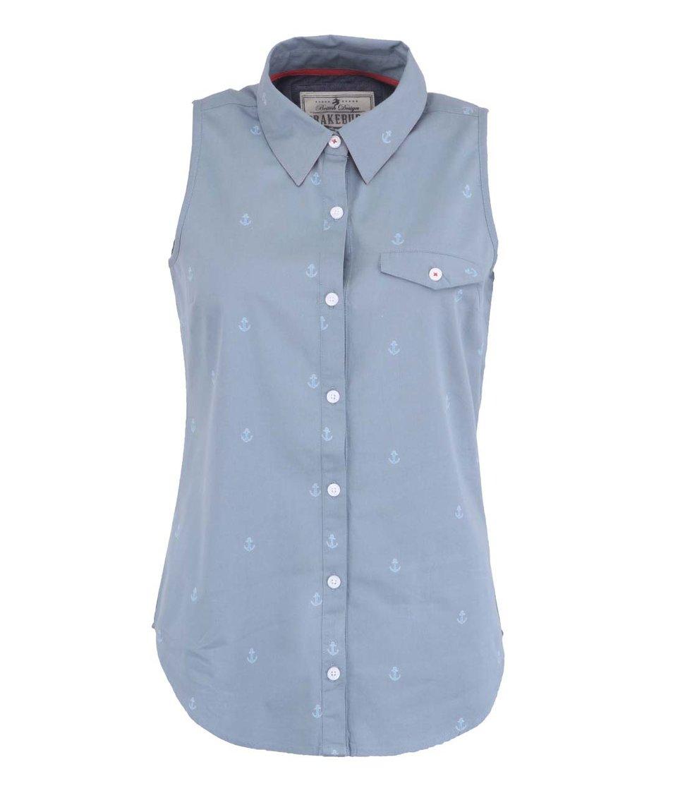 Šedomodrá dámská košile bez rukávů Brakeburn Anchor