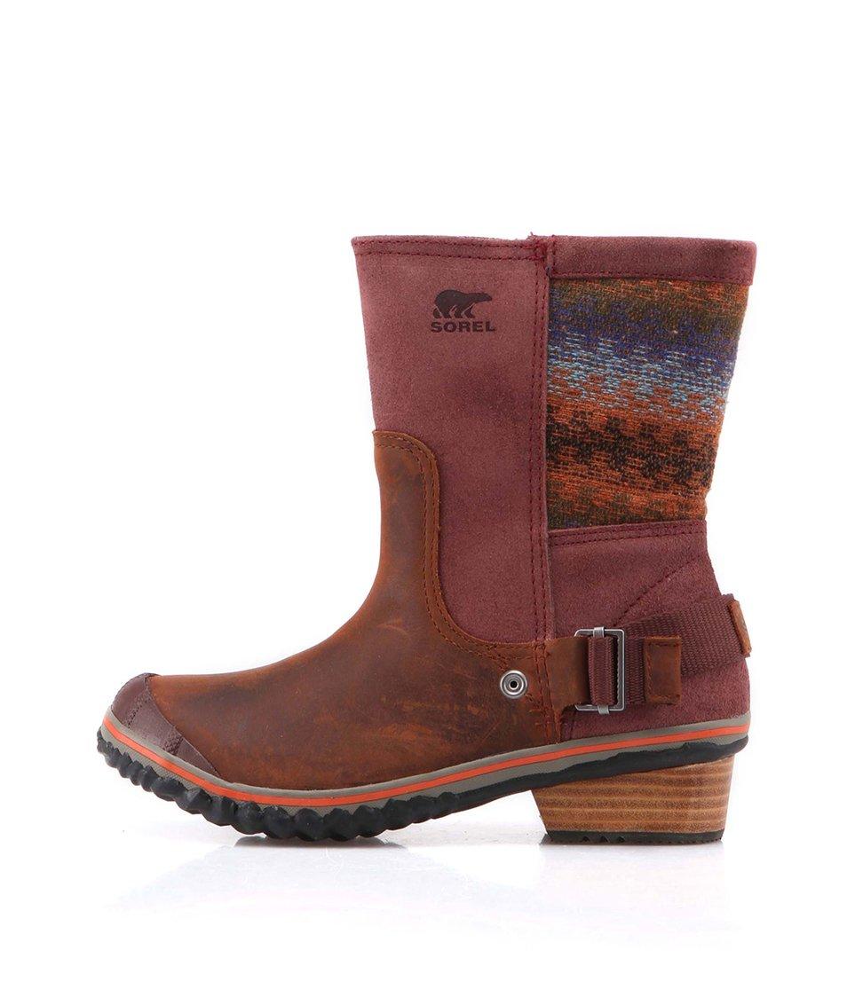 Vínové kožené voděodolné kotníkové boty SOREL