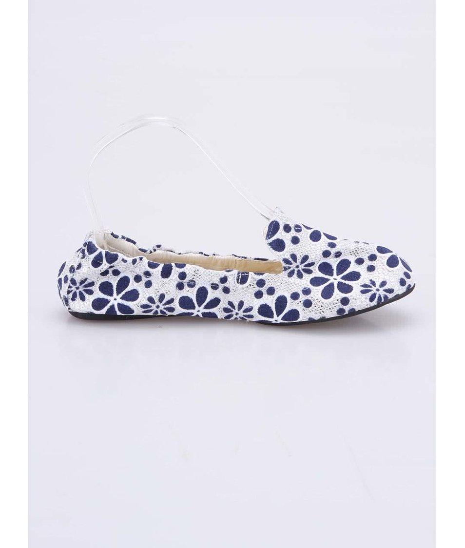 Krémové balerínky s modrými květy do kabelky Cocorose London Carnaby