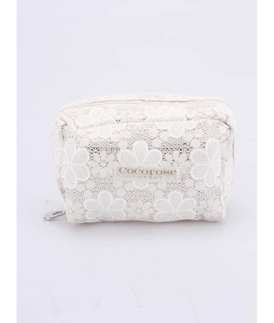 Krémové balerínky s bílými květy do kabelky Cocorose London Carnaby