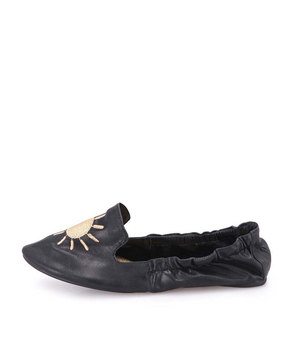 Černé balerínky s motivy počasí do kabelky Cocorose London Carnaby