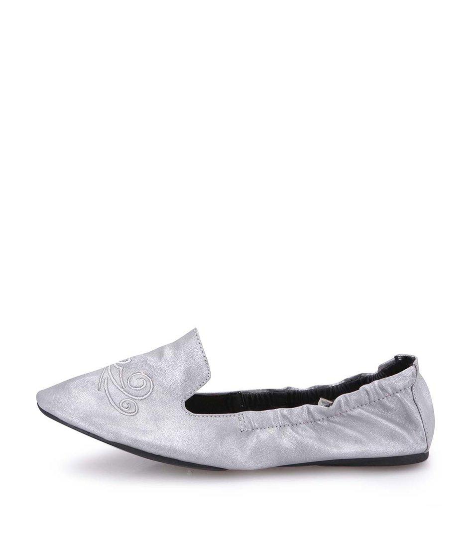 Stříbrné balerínky s námořnickými motivy do kabelky Cocorose London Carnaby