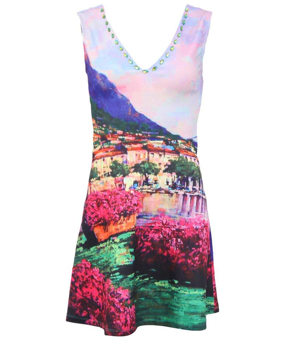 Barevné šaty nad kolena s potiskem krajiny Culito from Spain