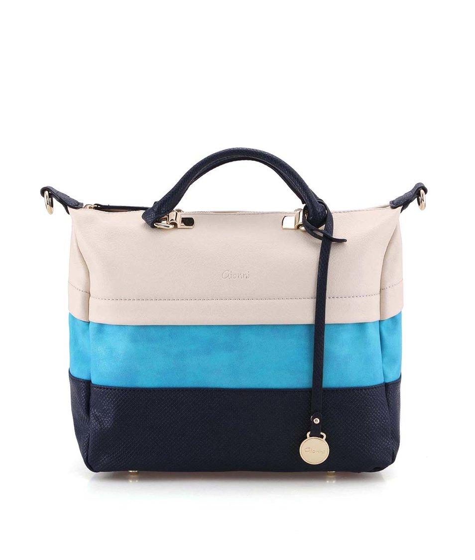 Krémovo-modrá větší taška přes rameno Gionni Acacia