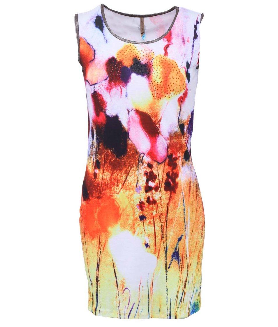 Bílé šaty s barevnými motivy Culito from Spain