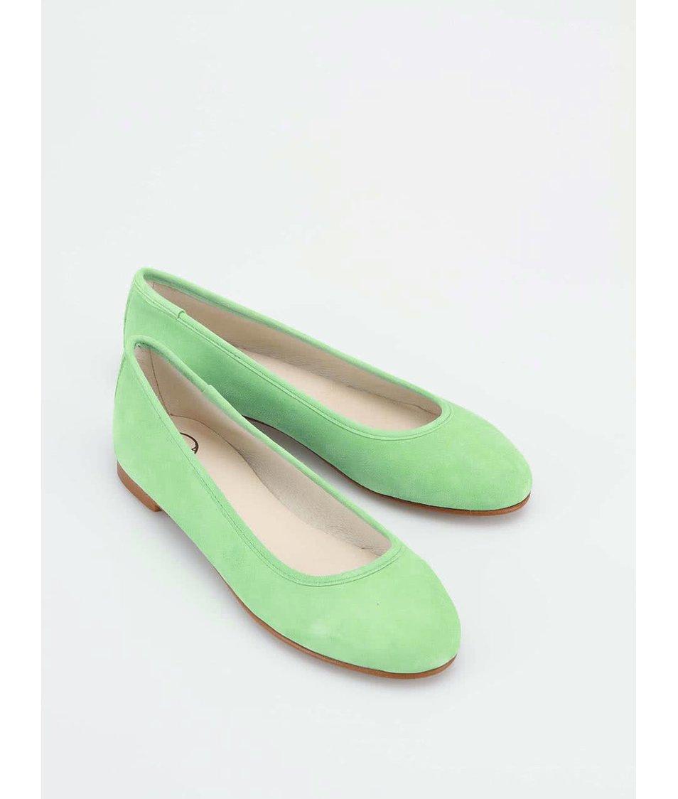 2360196566 Zelené kožené balerínky OJJU - SLEVA!