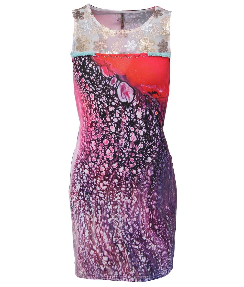 Fialovo-růžové šaty nad kolena Culito from Spain