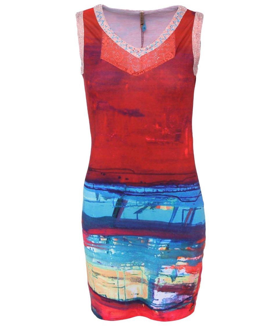 Červené šaty s modrými kamínky Culito from Spain
