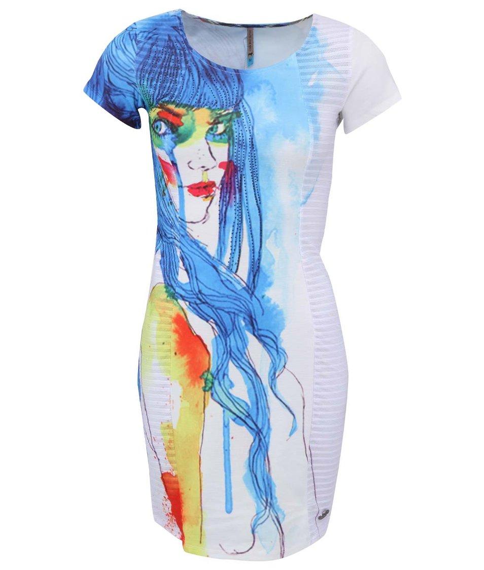 Bílé šaty s krátkým rukávem a potiskem Culito from Spain