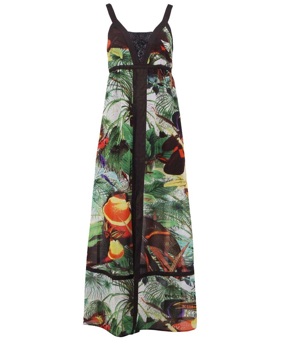 Barevné maxi šaty s tropickým vzorem Desigual Bulgaria