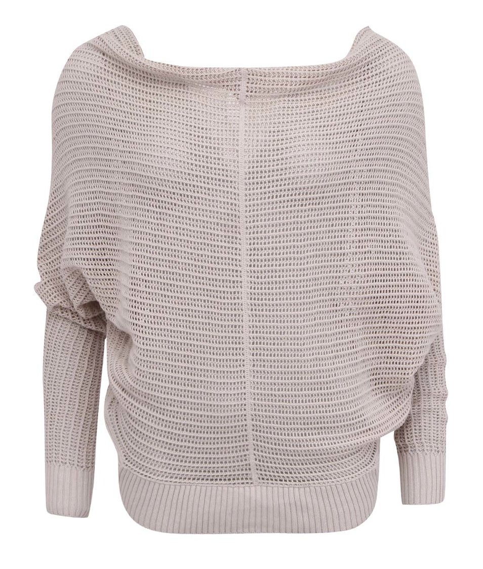 Béžový dámský pletený svetr s netopýřímí rukávy YAYA