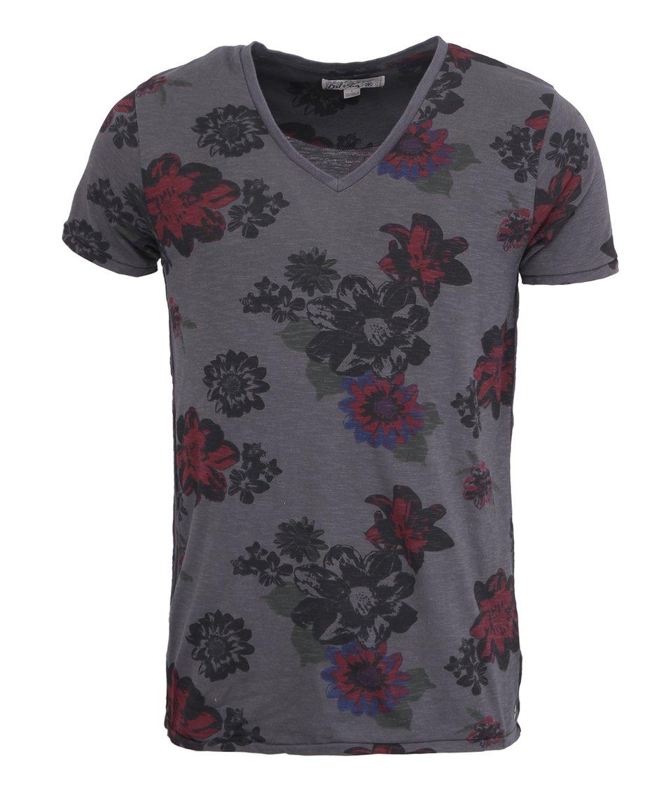 Tmavě šedé triko Dstrezzed Summer Flower