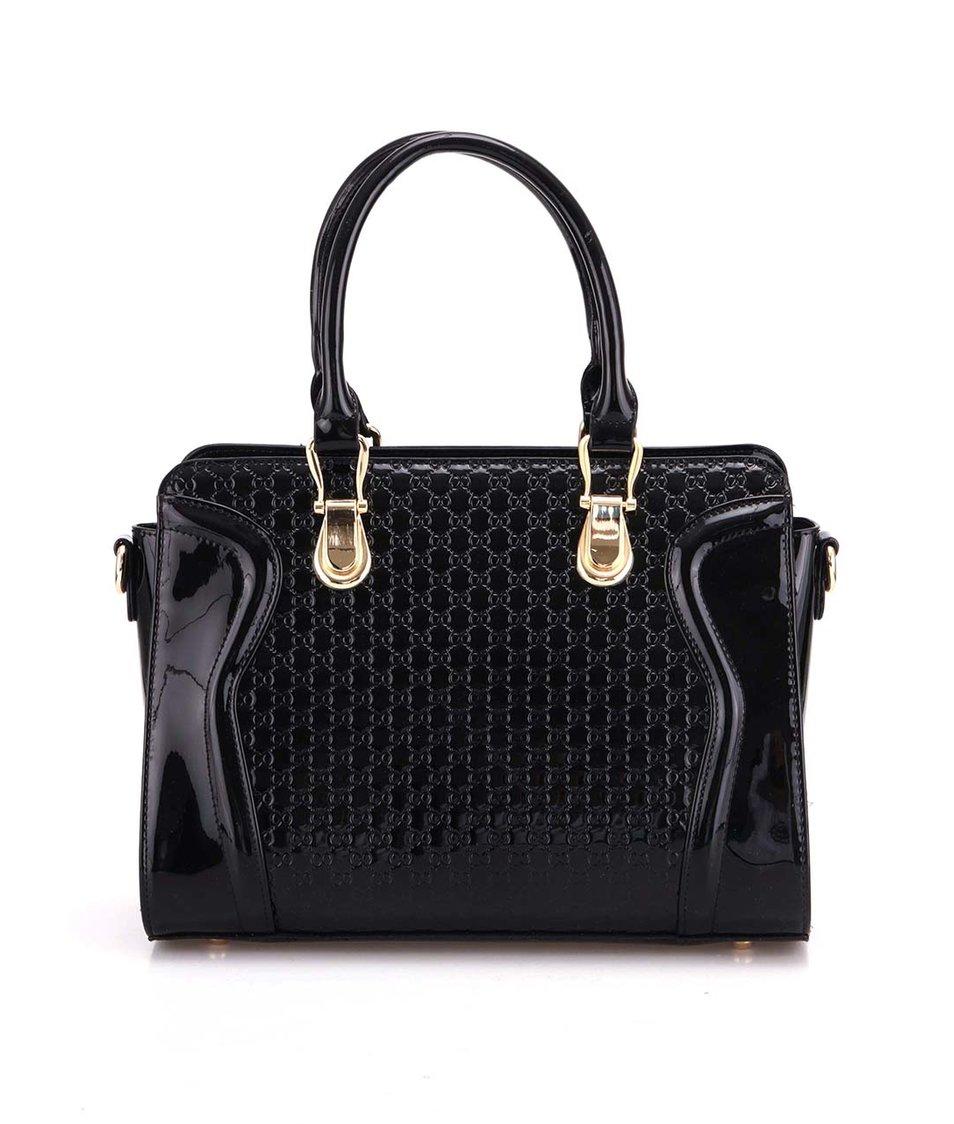 Černá lakovaná kabelka Gessy
