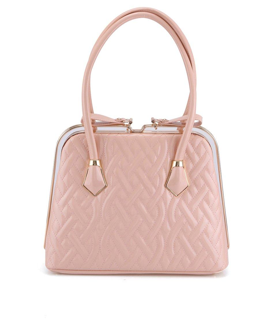 Světle růžová lesklá kabelka s plastickým povrchem Gessy