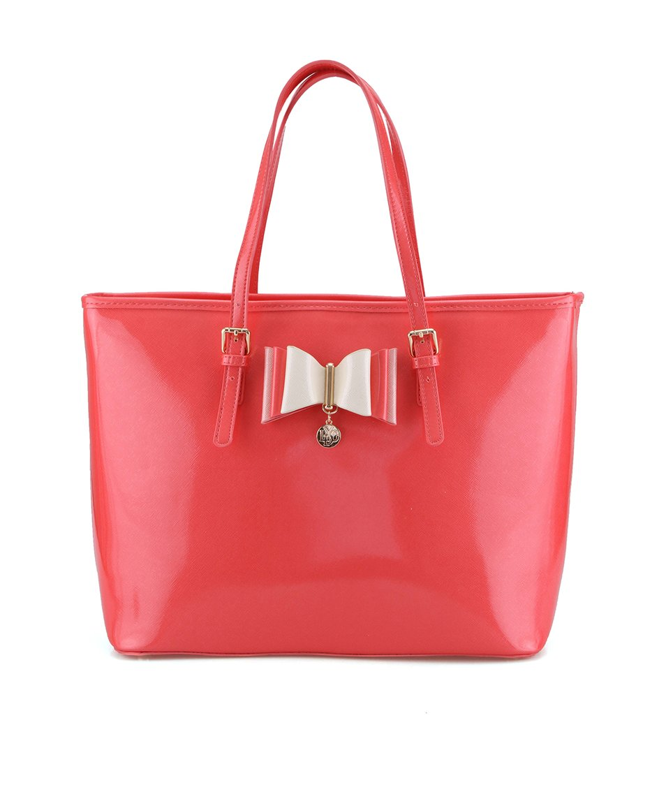 Korálově růžová lesklá kabelka s ozdobnou mašlí LYDC