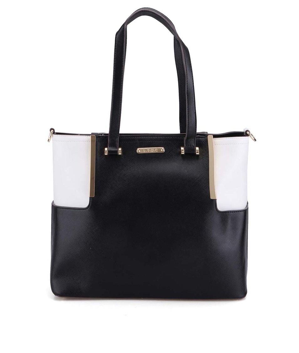 Bílo-černá kabelka se zlatými detaily LYDC