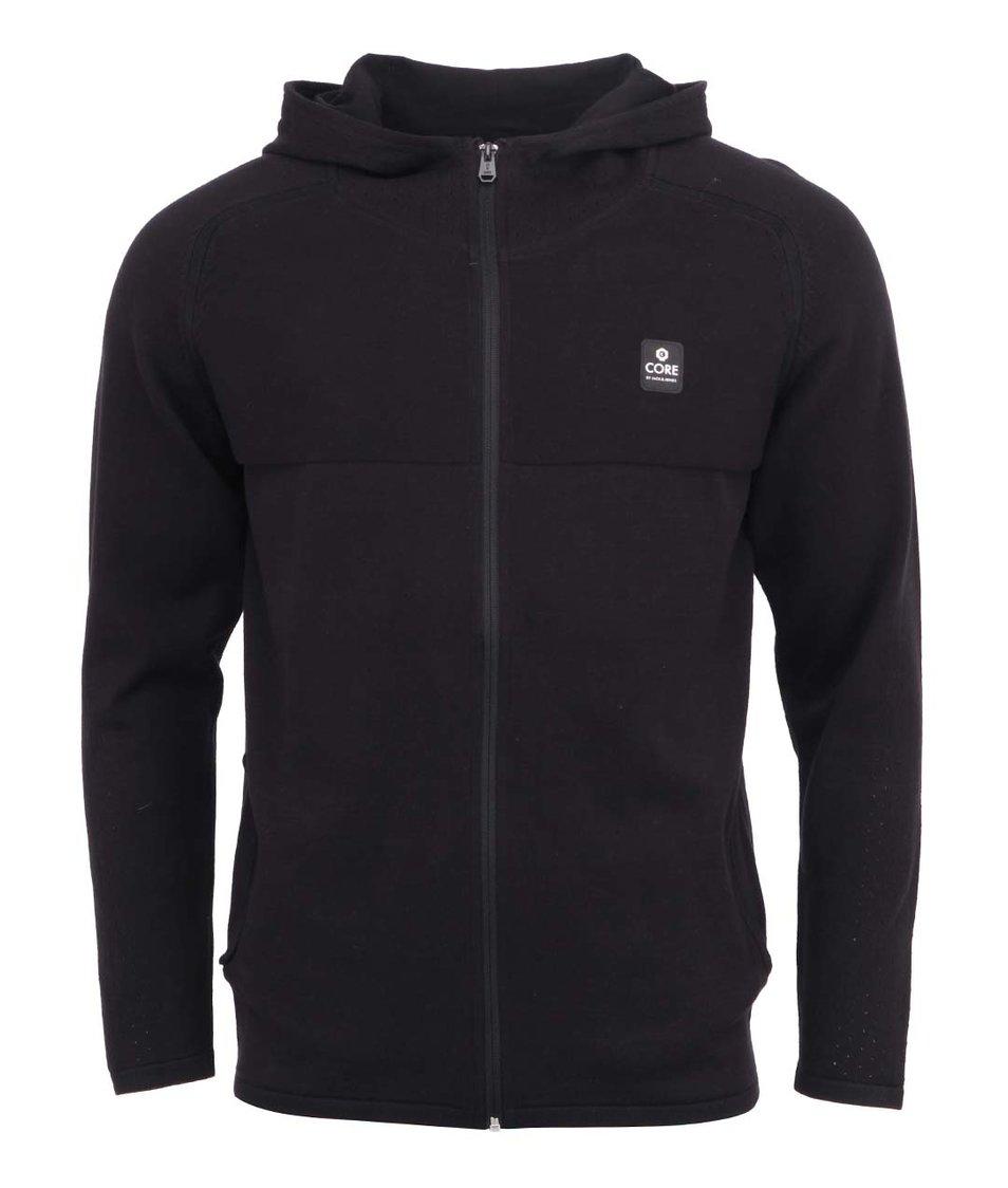 Černý svetr s kapucí na zip Jack & Jones Ethan