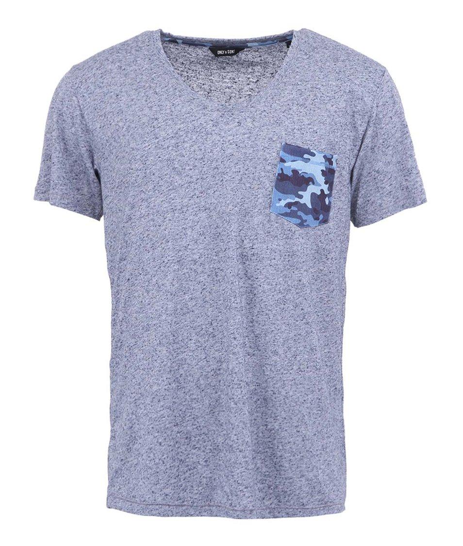 Šedo-modré žíhané třičko s krátkým rukávem ONLY & SONS Leron