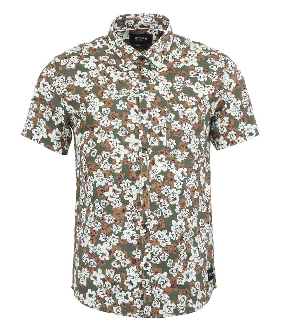 Zelená květovaná slim fit košile ONLY & SONS Magni