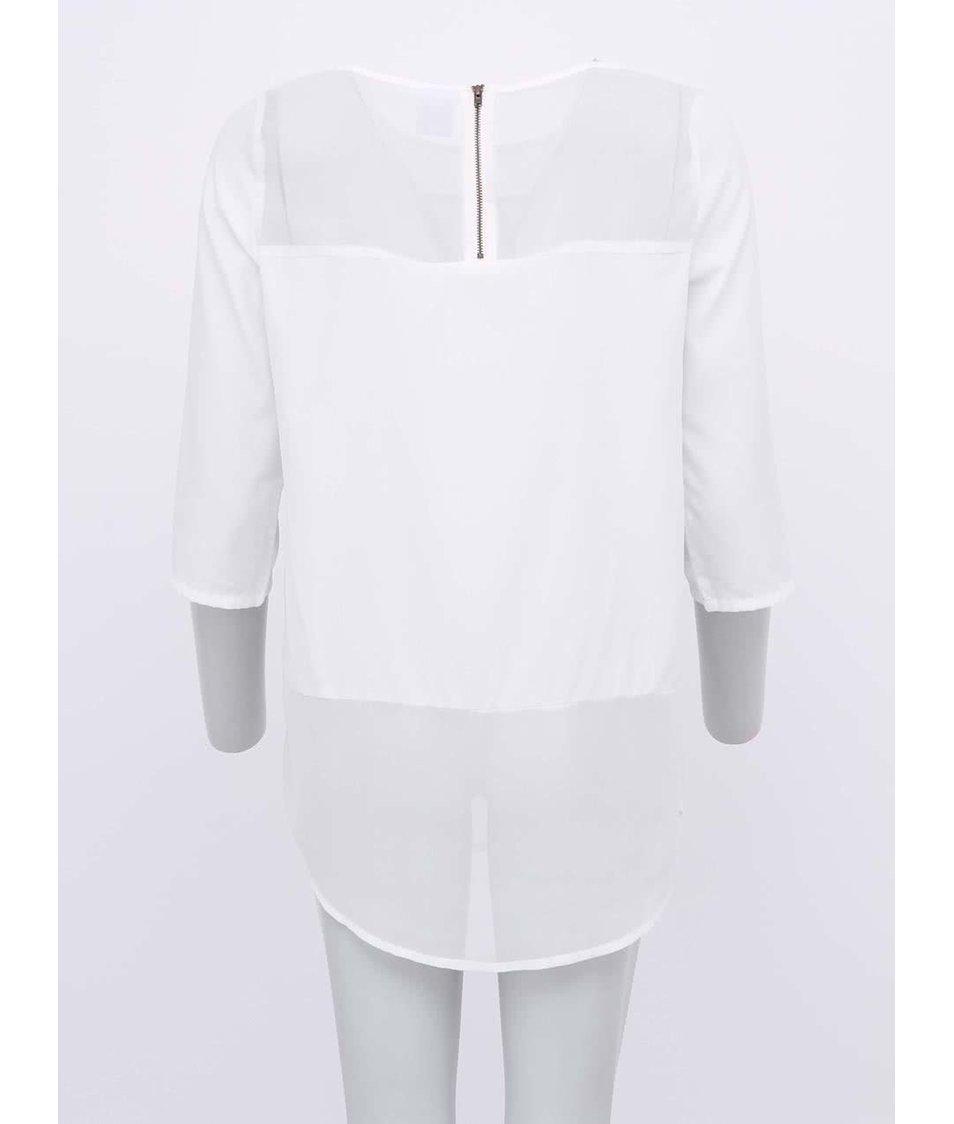 Bílá halenka s průsvitnými lemy Vero Moda Meghan