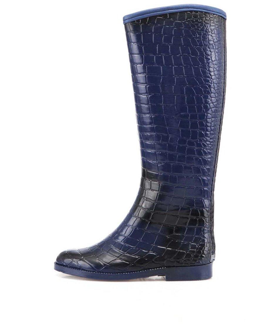 Tmavě modré krokodýlí holínky Be Only Cavaliere Croco