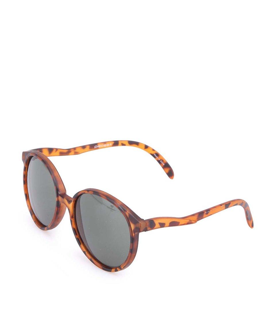 Hnědé vzorované sluneční brýle Pieces Jeanne