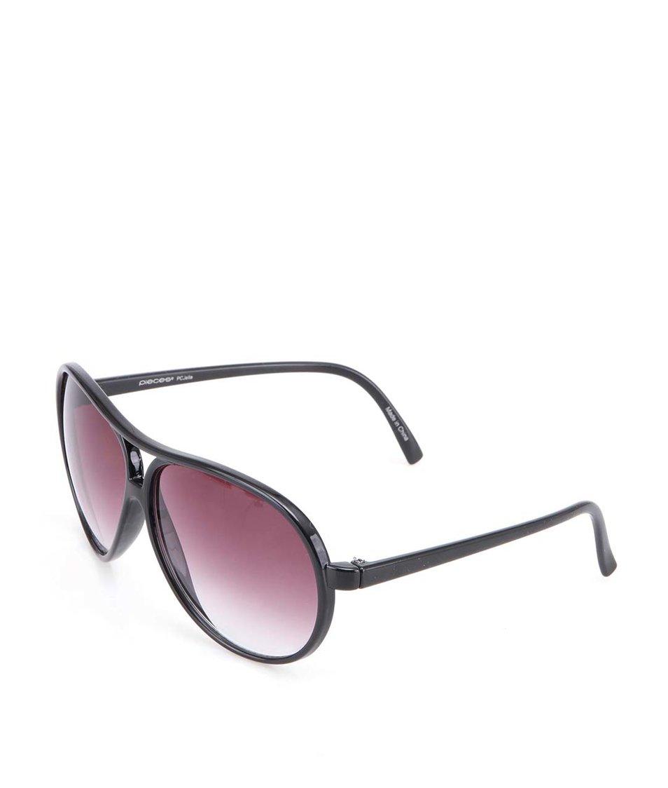 Černé sluneční brýle s tenkými obroučkami Pieces Judy