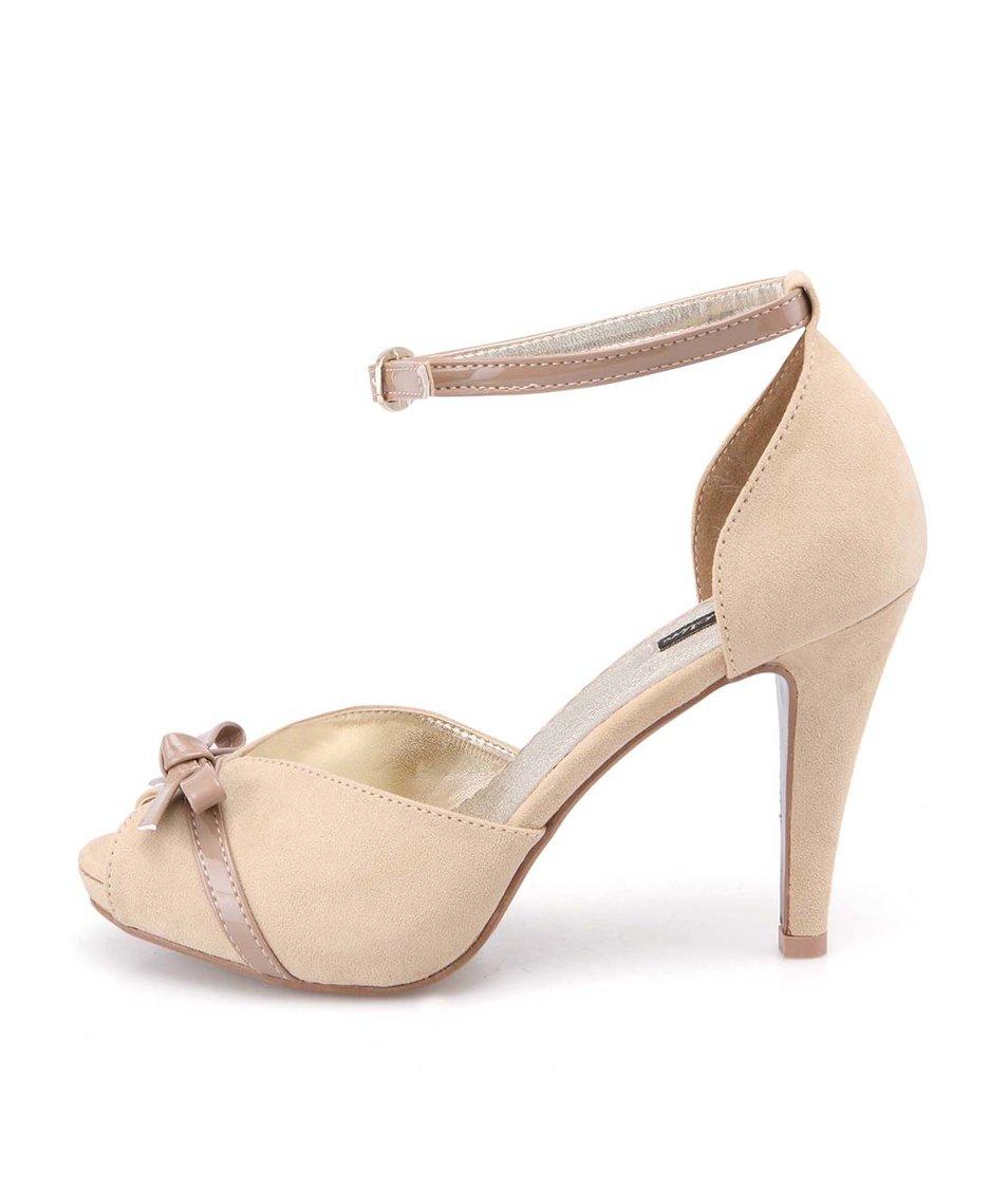 Béžové sandálky na podpatku Jaclin