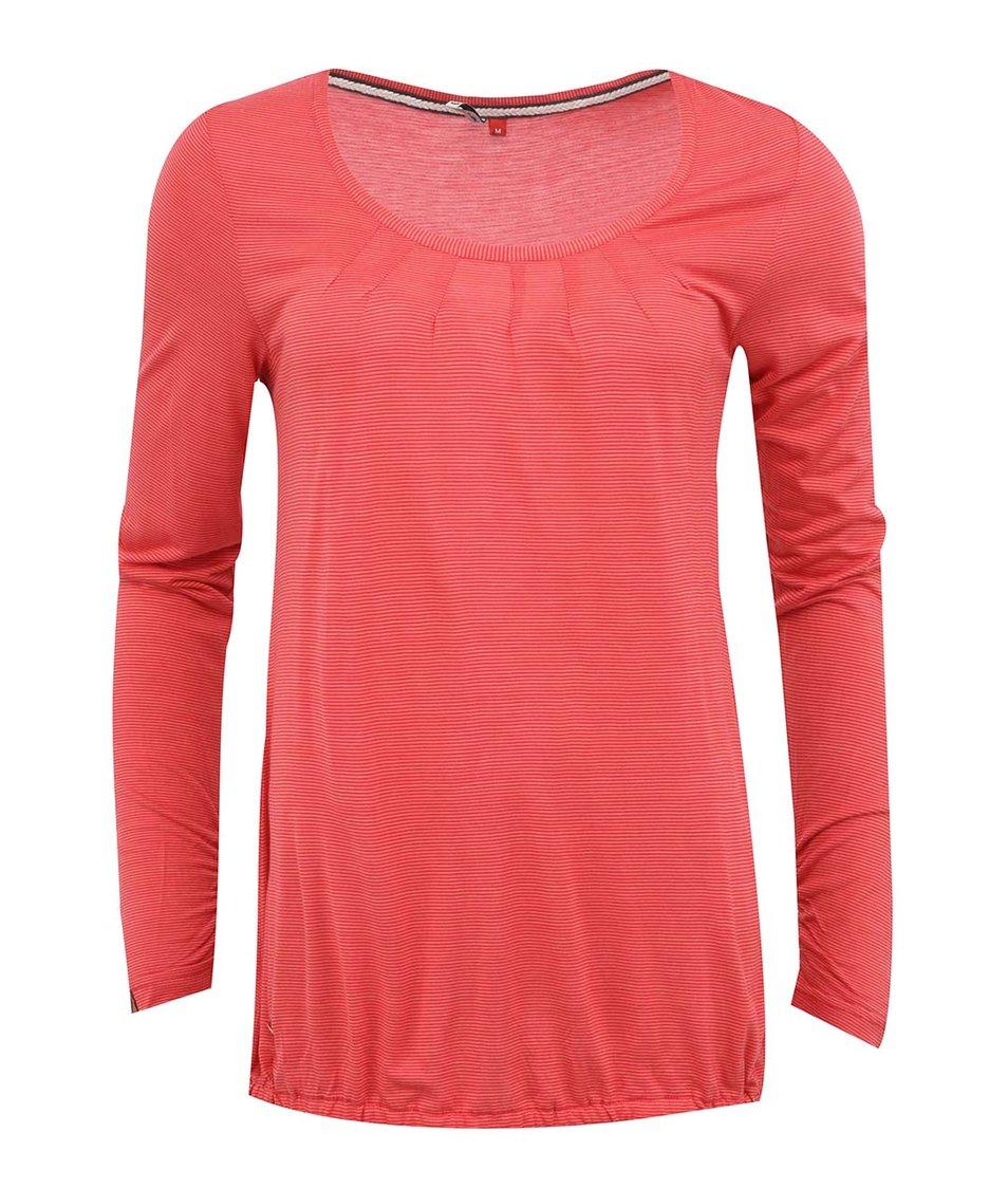 Korálové pruhované dámské tričko s dlouhým rukávem Ragwear Sisa